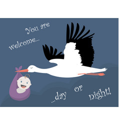 with stork and a baby vector image