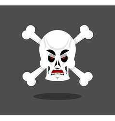 Angry skull emotion crossbones aggressive skeleton vector