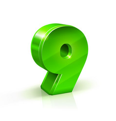 glossy green nine 9 number 3d on vector image