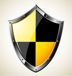 Steel glossy shield vector image