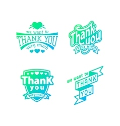 Thank you text lettering logo badge vector