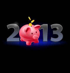 Twenty thirteen year piggy bank with coins on vector