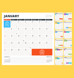 calendar planner for 2018 year design template vector image