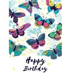 Congratulation card happy birthday with flying vector
