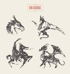 dragons logo hand drawn sketch vector image