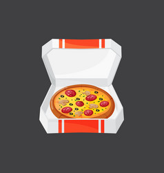 hot fresh pizza box icon vector image vector image