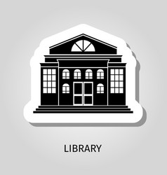 Library building black sticker vector