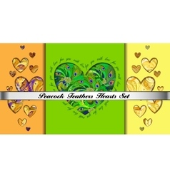 Set of hearts cards with peacock feathers ornament vector image