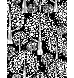 winter forest seamless background black and white vector image