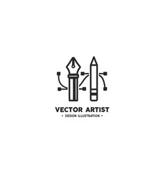 artist logo template pencil and pen tool vector image vector image