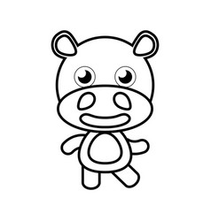 cartoon hippo animal outline vector image