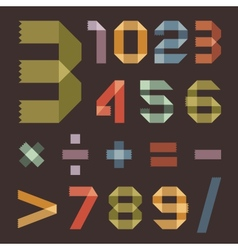 Font from colored scotch tape - Arabic numerals vector image vector image