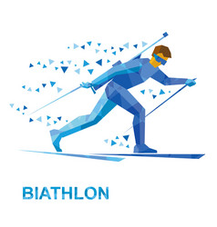 winter sports - biathlon man skiing with rifle vector image