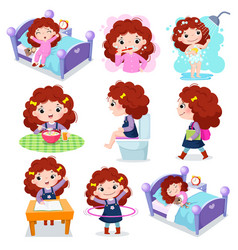 daily routine activities for kids with cute girl vector image