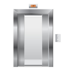 Elevator with open doors vector