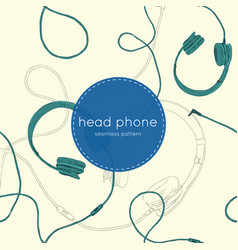 speaker and headphones set seamless pattern vector image vector image