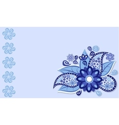 The frame of the blue flower vector image