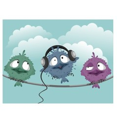 Three funny birds vector image vector image