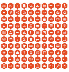 100 logistic and delivery icons hexagon orange vector