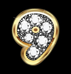 9 number gold and diamond bling vector