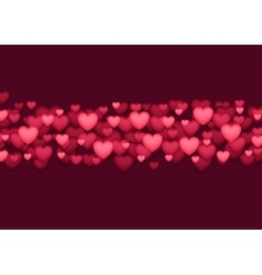 Abstract shiny red Valentines Day hearts vector image