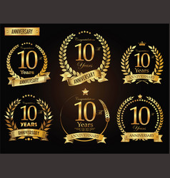 anniversary golden laurel wreath 10 years vector image