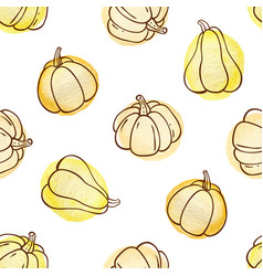 Autumn doodle seamless pattern with pumpkins vector