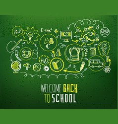 back to school scheme on green chalkboard vector image