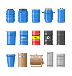 barrel oil barrels with fuel and wine or vector image