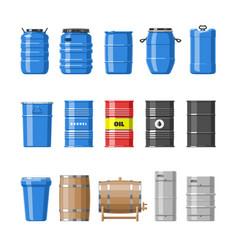 barrel oil barrels with fuel and wine vector image