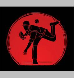 Baseball player action cartoon sport graphic vector