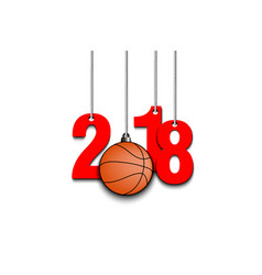 Basketball and 2018 hanging on strings vector