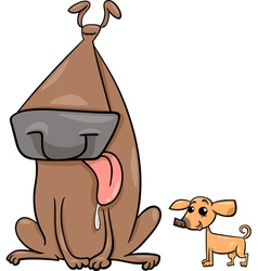 Big and small dogs cartoon vector