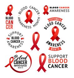 Blood cancer awareness label set tamplates vector