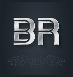 Br - initials or silver logo for personal brand b vector
