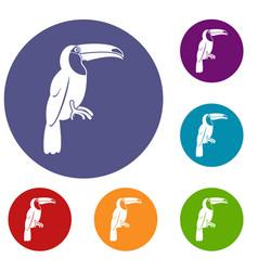 Brazilian toucan icons set vector