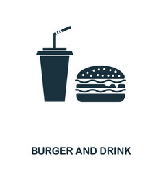 burger and drink icon mobile apps printing and vector image