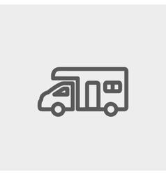 Camper van thin line icon vector