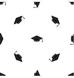 cap student pattern seamless black vector image