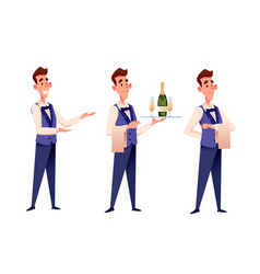 Cartoon waiter at restaurant with champagne vector