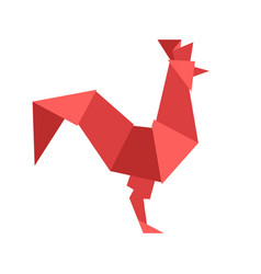 chinese red rooster isolated on white vector image
