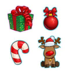 christmas cartoon icon set gift ball candy cane vector 32112034