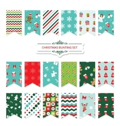 Christmas festive bunting flags set vector