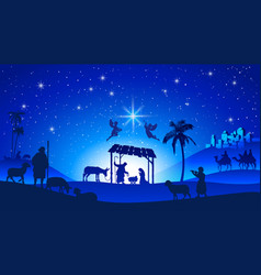 Christmas nativity scene with manger silhouette vector
