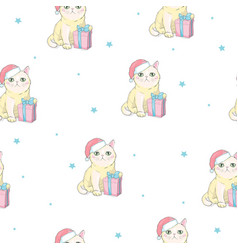 Christmas seamless pattern with grey cat with vector