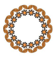 Circular floral decorative frame vector