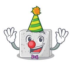 Clown fresh feta cheese isolated on maskot vector
