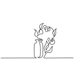 Cosmetic aromatherapy bottle and flowers line art vector