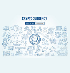 Cryptocurrency concept hand drawn doodle designs vector