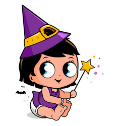 cute baby girl in halloween witch costume vector image
